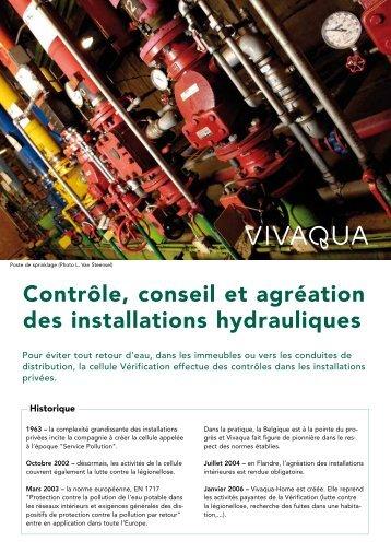 Contrôle, conseil et agréation des installations hydrauliques - Vivaqua