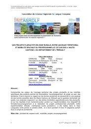 Communication ASRDLF 2009 - INRA Montpellier