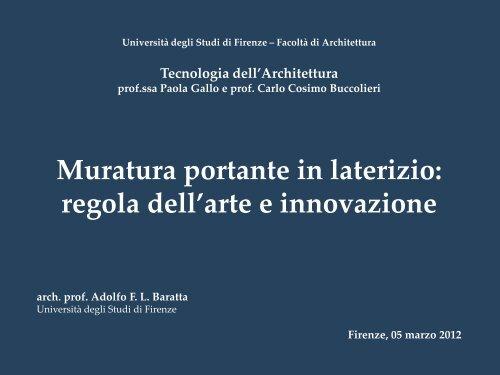 Muratura portante in laterizio - Dipartimento di Tecnologie dell ...