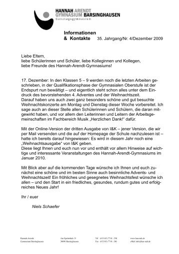 35. Jahrgang / Nr. 4 / Dezember 2009 - Hannah-Arendt-Gymnasium ...