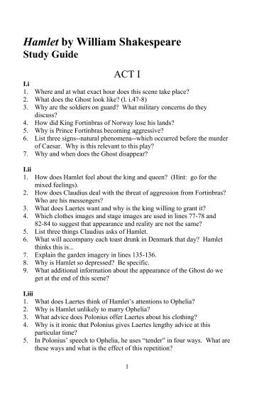 Hamlet Study Guide - explanatory notes, character analysis ...