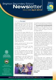 Brighton Secondary School Newsletter April 2013