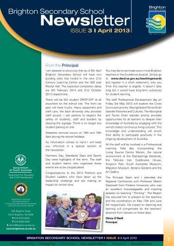 Brighton Secondary School Newsletter April 2013