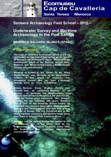 Underwater Survey and Maritime Archaeology in the Port Sanitja