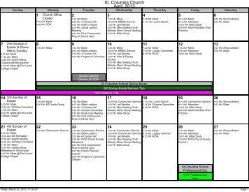 Monthly Calendar - St. Columba Parish