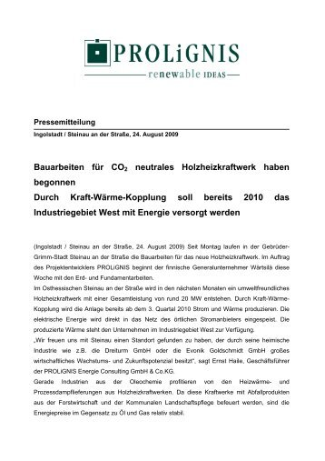 Bauarbeiten für CO2 neutrales Holzheizkraftwerk haben begonnen ...
