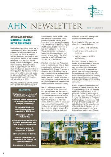 AHN NEWSLETTER Issue N˚7 JuNe 2012 - Anglican Health Network
