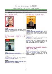 Revue de presse ANGLAIS Semaine du 08 au 14 avril 2013 - Scelva