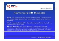 Sport England Guide - How to work with the Media - VicSport