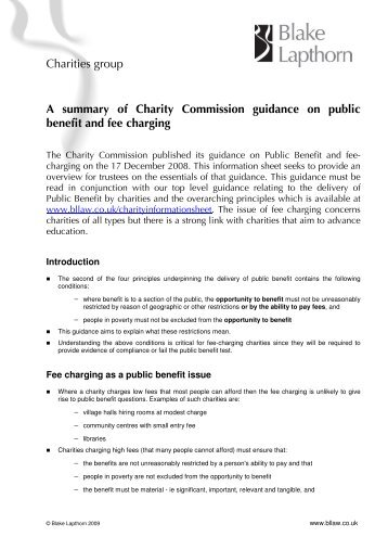 A summary of Charity Commission guidance on ... - Blake Lapthorn