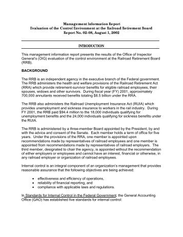 Management Information Report - U.S. Railroad Retirement Board
