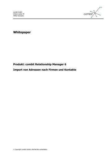 Import von Adressen nach Firmen und Kontakte - combit GmbH