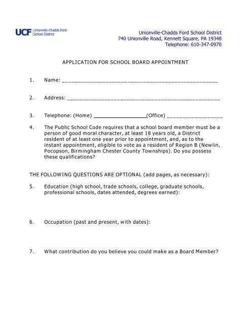 Application   Unionville Chadds Ford School District