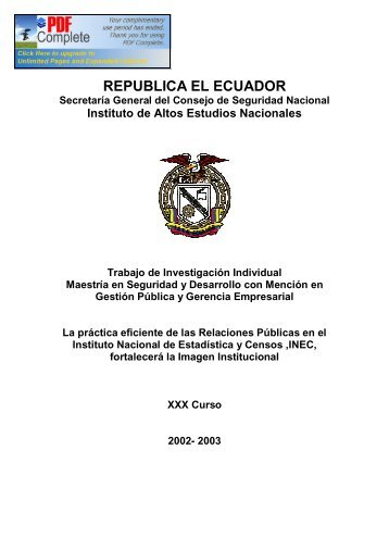 republica el ecuador - Repositorio Digital IAEN - Instituto de Altos ...