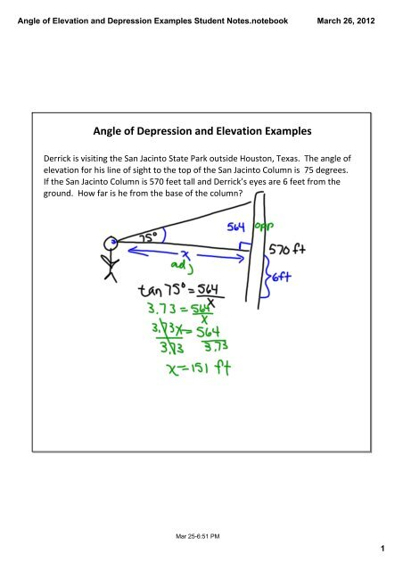Angle Of Elevation And Depression Examples Student Notes Notebook