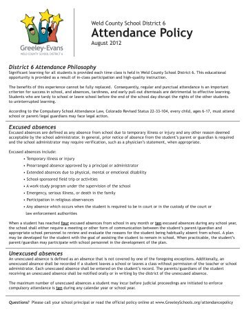District 6 Attendance Policy flyer 2012-13.ai - Greeley Schools