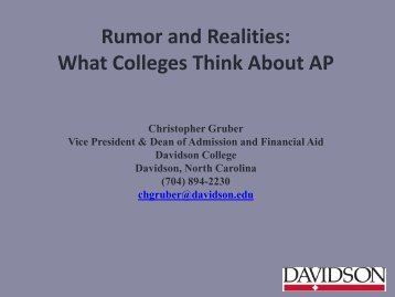 Rumor and Realities: What Colleges Think About AP - College Board