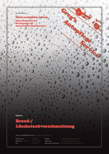 Dioxin, Brand und Löschstaub - Greg's Autopflege Service