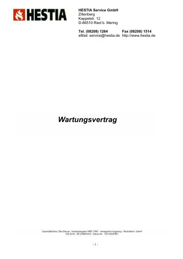 Wartungsvertrag Herbert Wagner Haustechnik Gmbh