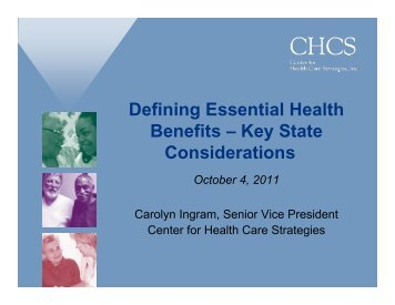 Defining Essential Health Benefits - Center for Health Care Strategies