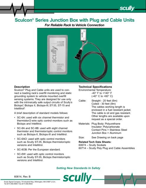Sculcon SC8B plug and cable unit - Acme Fluid Handling