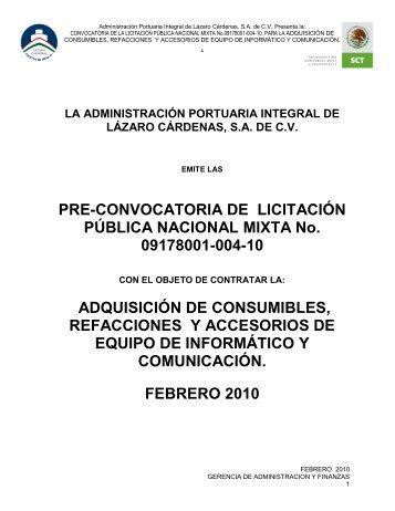 PRE-CONVOCATORIA DE LICITACIÓN PÚBLICA NACIONAL ...