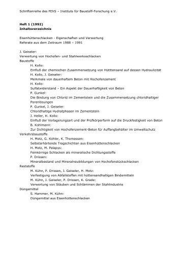 Schriftenreihe des FEhS – Instituts für Baustoff-Forschung e.V. Heft 1 ...