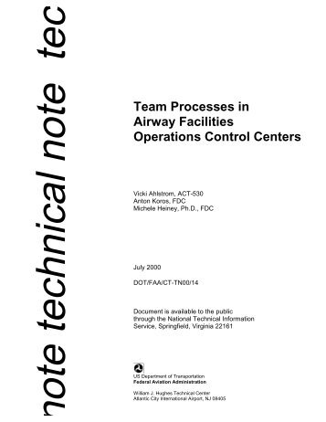 Team Processes in Airway Facilities Operations Control Centers