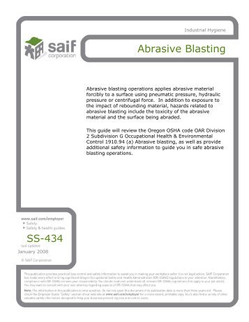 Abrasive Blasting - SAIF Corporation
