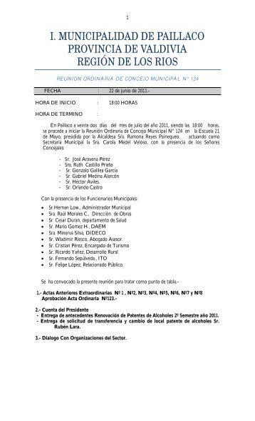 Acta Sesión Ordinaria Nº124. 22-06-2011 - Ilustre Municipalidad de ...