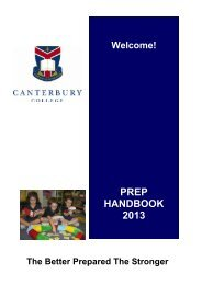 2013 Prep Handbook for Parents - Canterbury College
