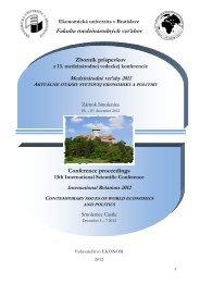 Zborník 1 - Fakulta medzinárodných vzťahov - Ekonomická ...