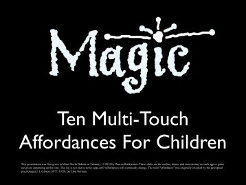 Ten Affordances of Multi-touch
