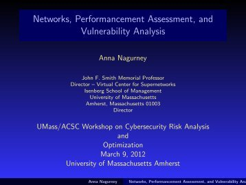 Networks, Performancement Assessment, and Vulnerability Analysis