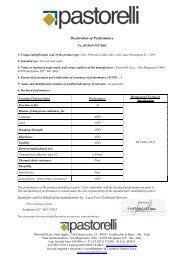 Declaration of Performance - Pastorelli