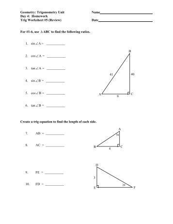 Trig Equations worksheet 5.1 Name: Solve for 0≤x