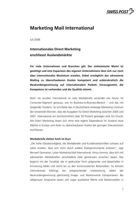 Basistext Marketing Mail International - Swiss Post