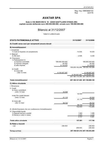 Bilancio 2007 e allegati Acrobat Reader (PDF) - Wgov.org