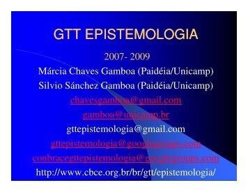 GTT EPISTEMOLOGIA - Colégio Brasileiro de Ciências do Esporte