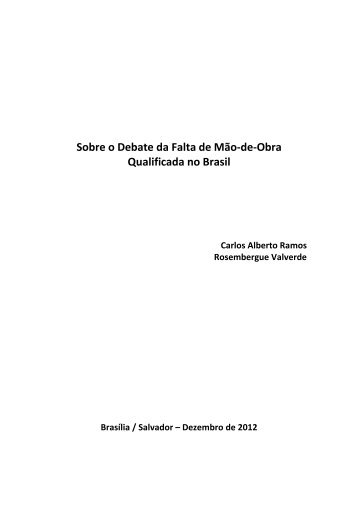 Sobre o Debate da Falta de Mão-de-Obra Qualificada no Brasil - CNI