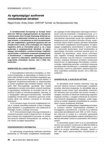 Az egészségügyi szoftverek minősítésének kérdései - IME