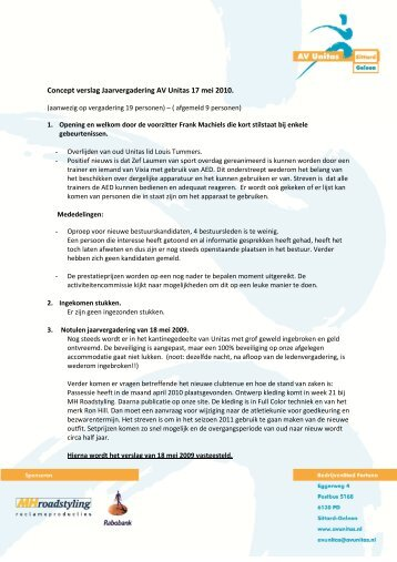 Concept verslag Jaarvergadering AV Unitas 17 mei 2010.