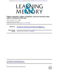 within a continuous CA3 map Pattern separation ... - Psychology