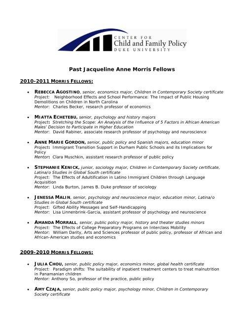 Past Jacqueline Anne Morris Fellows - Center for Child