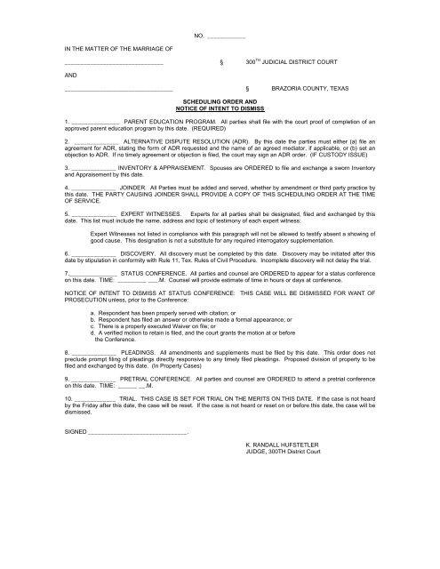 Scheduling Order Brazoria County