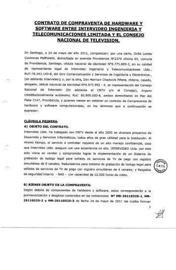 CONTRATO DE COMPRAVENTA DE HARDWARE Y ... - CNTV