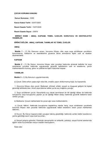 Çocuk Koruma Kanunu - Aile Eğitimi - Milli Eğitim Bakanlığı