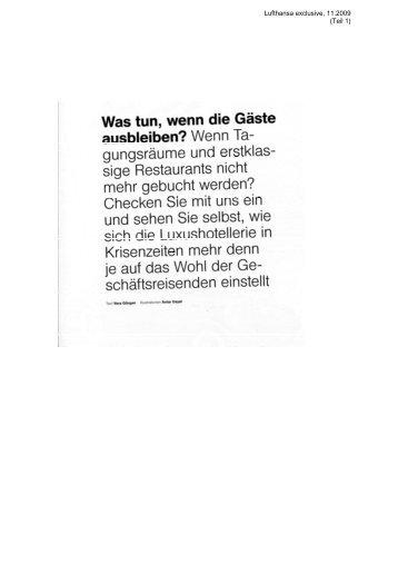 Lufthansa exclusive, 11.2009 (Teil 1)