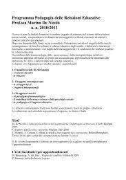 Programma Pedagogia delle relazioni educative - Facoltà di ...