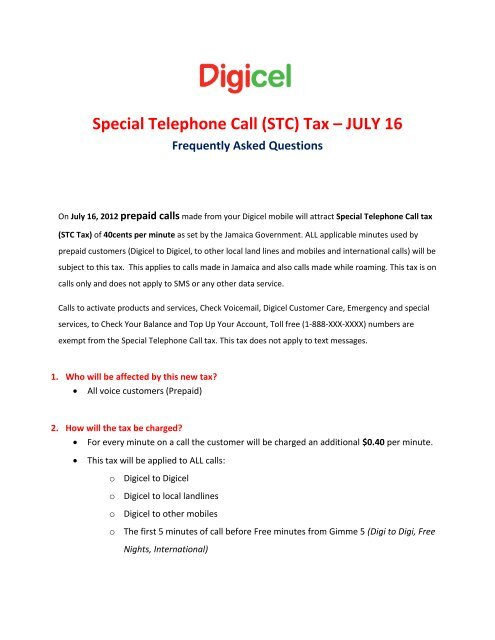 Special Telephone Call (STC) Tax – JULY 16 - Digicel Jamaica